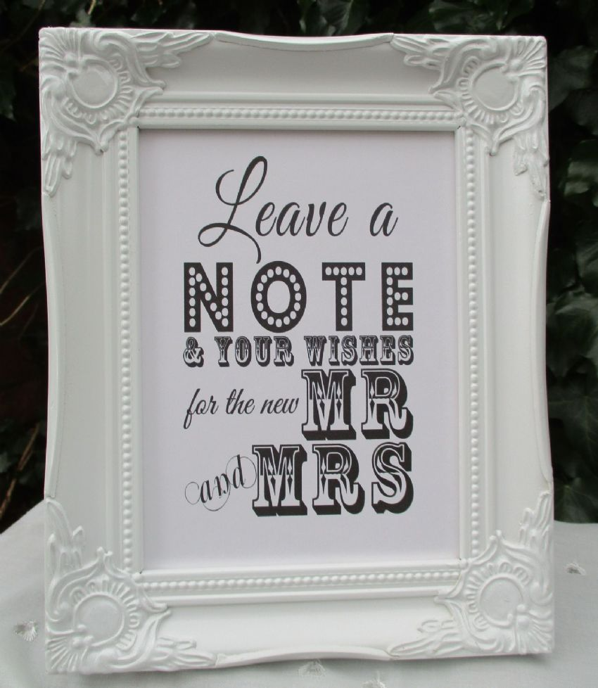 Wedding Wishes Sign Mr & Mrs Wooden Frame